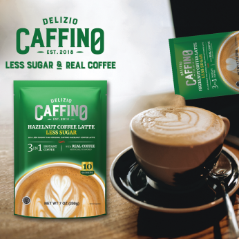 Caffino Hazelnut Coffee Latte Less Sugar (10 Sachets/Bag)少糖巧克力榛果咖啡
